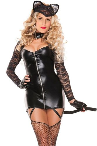Costume Womens Sexy Kitty Role Playing Sexy Kitty Halloween Fancy Dress  M L New